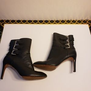 Nine West Ankle Boot Black 3 Side Silver Buckles